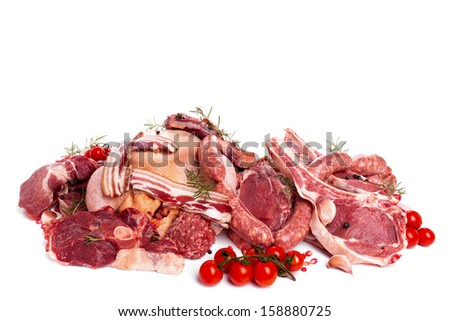 Raw meat mix: steaks,  poultry, sausages, ham, chopped, minced. - stock photo