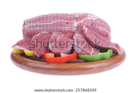 raw meat on wood over white background - stock photo