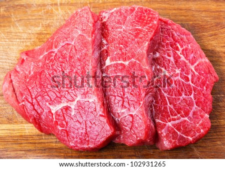 raw meat on wooden table - stock photo