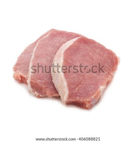 raw meat pork on white. - stock photo