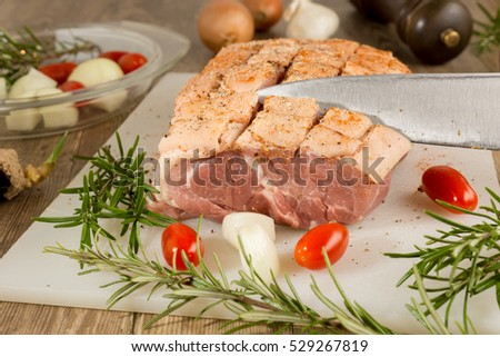 Raw meat to prepare roasted pork