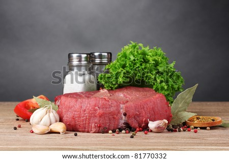 raw meat, vegetables and spices on gray background