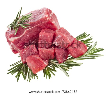raw meat with fresh rosemary  isolated on white background  - stock photo