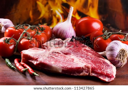 raw meat with fresh vegetables - stock photo