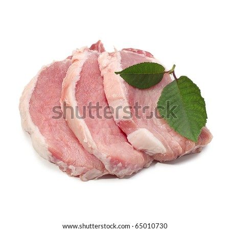 raw meat with leaf - stock photo