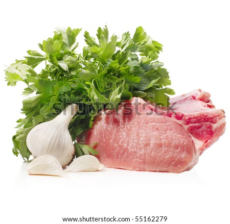 raw meat with parsley and garlic - stock photo