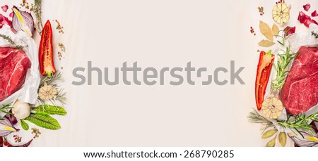 Raw meat with seasoning and spaces on white wooden background, banner for website with cooking concept - stock photo