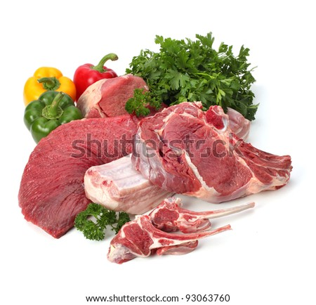 raw meat with vegetables - stock photo