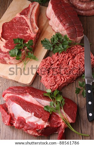 raw meats - stock photo