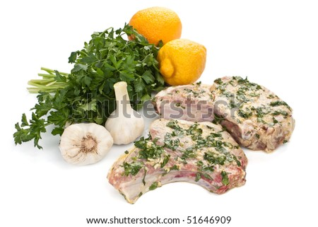 Raw Mexican Citrus Pork Chops - stock photo