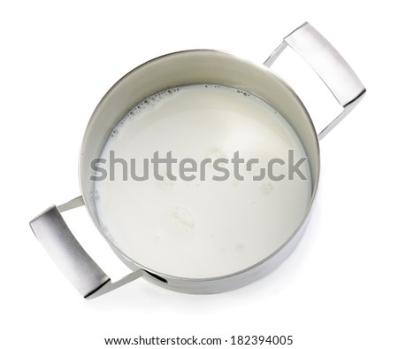 Raw milk in metal pot ready for pasteurization - isolated on white - stock photo
