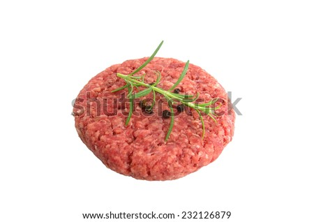raw minced beef meat with onion and tomatoes - stock photo