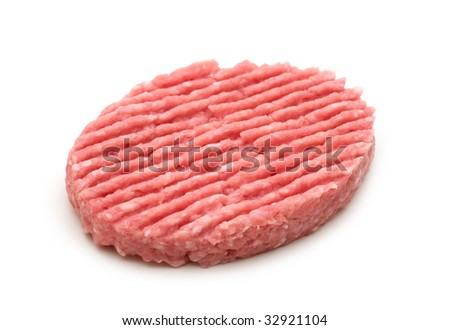 raw minced beef steak on white background - stock photo
