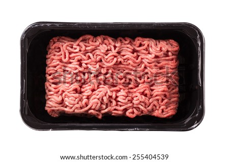 Raw Minced Meat in a Black Plastic Container Isolated on a White Background.  - stock photo
