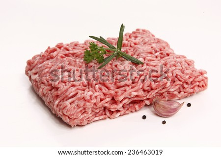 Raw minced meat with spices on white background
