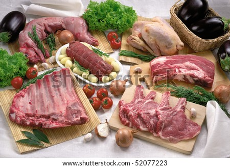 raw mixed meat - stock photo