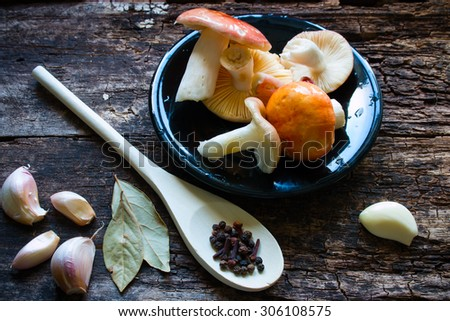 raw mushrooms on a black plate - stock photo