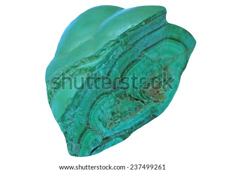 Raw , no polished malachite from Congo  isolated on a white background - stock photo