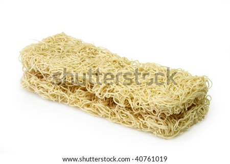 Raw  noodles from China on bright background