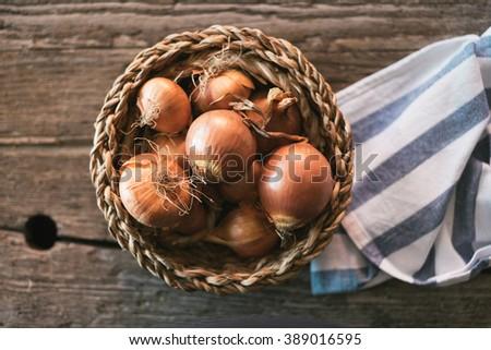 Raw onions - stock photo