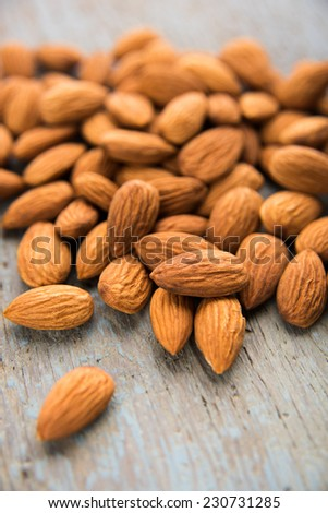Raw Organic Almonds on Blue Wooden Surface
