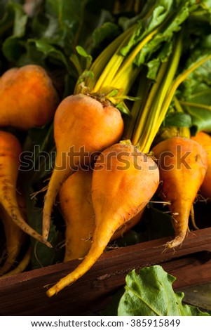 Raw Organic Golden Beets in a Box - stock photo