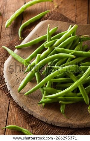 Raw Organic Green Beans Ready to Eat - stock photo