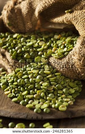 Raw Organic Green Split Peas in a Spoon - stock photo