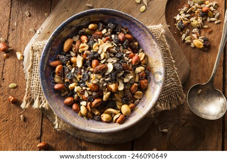 Raw Organic Homemade Trail Mix with Nuts and Fruits - stock photo