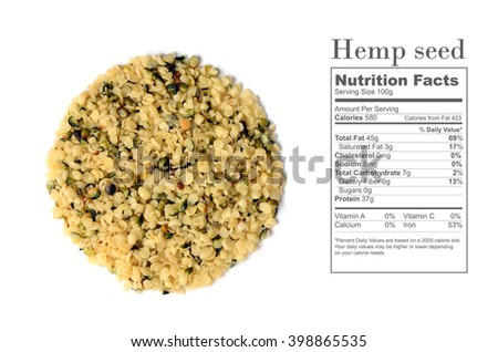 raw organic shelled hemp seeds with nutrition facts - stock photo