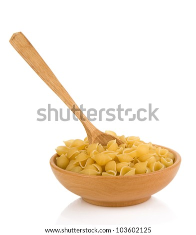 raw pasta and bowl isolated on white background