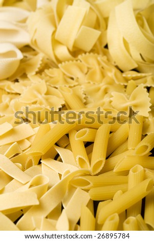raw pasta background, vertical