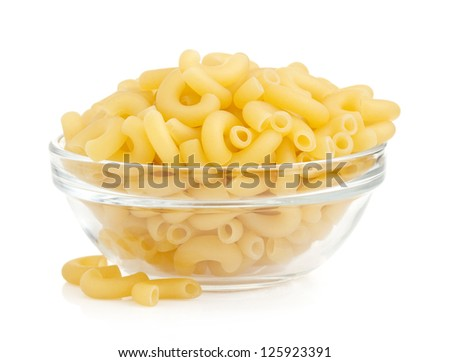 raw pasta in bowl isolated on white background - stock photo