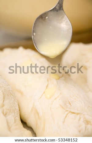 Raw pastry with sauce