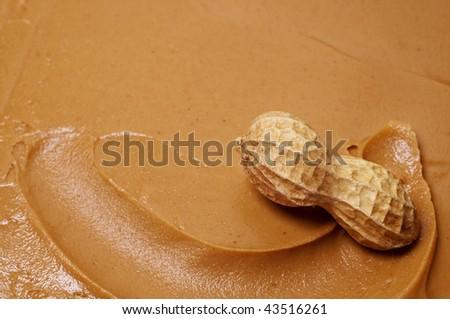 Raw peanut in swirl of creamy peanut butter. - stock photo