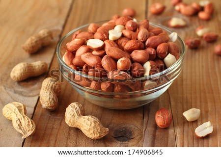 Raw peanuts or arachis - stock photo