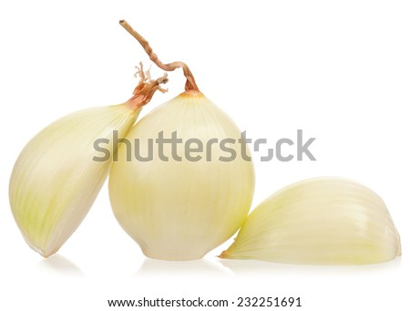 Raw peeled onions isolated on white background cutout - stock photo