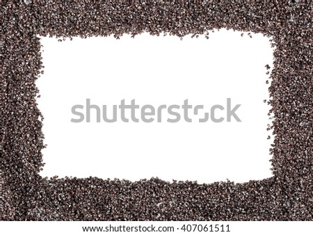 Raw poppy seeds frame over white background - stock photo