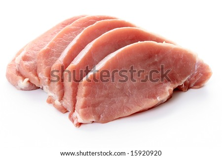 raw pork isolated on white - ready to cook