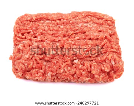 Raw pork meat ground beef isolated on white background.