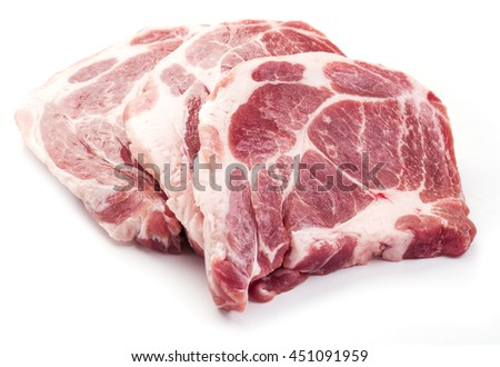 Raw pork meat slices on a white background.