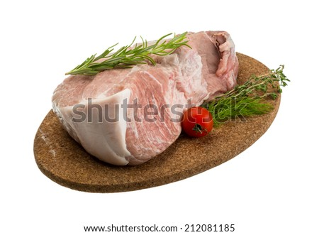 Raw pork meat with herbs