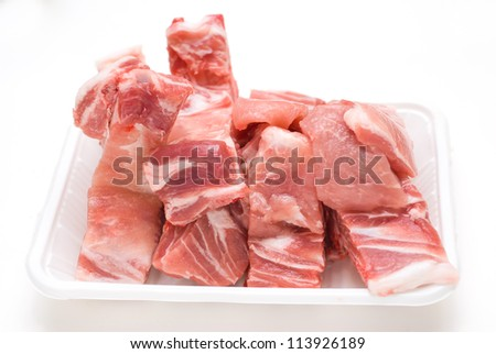 Raw Pork Ribs Isolated On White Background - stock photo