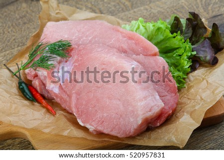 Raw pork steak with dill and pepper ready for cooking