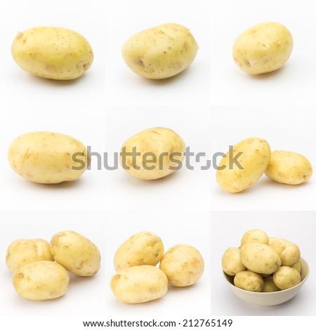 Raw Potato chips on white background  - stock photo