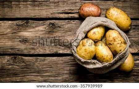 Raw potato food . Fresh potatoes in an old sack on wooden background. Free place for text. Top view - stock photo