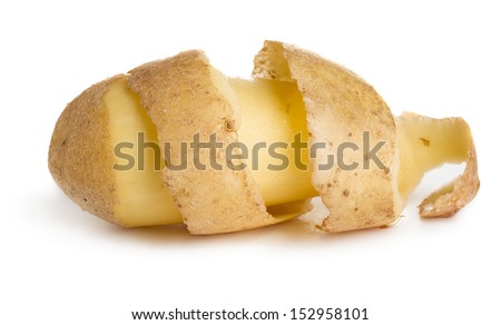 Raw potato with cutting peel isolated on white background