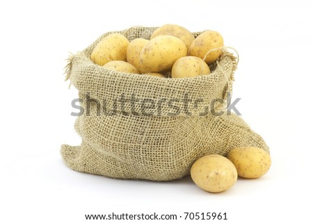 raw potatoes in sack - stock photo