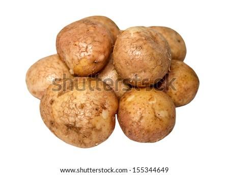 Raw potatoes isolated on white - stock photo