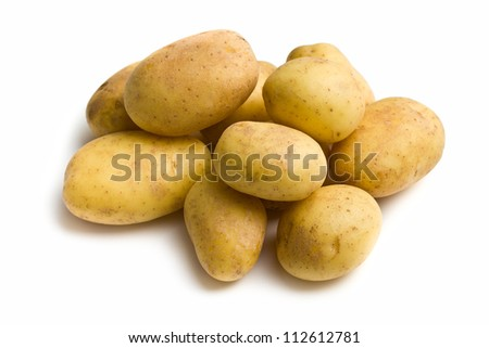 raw potatoes on white background - stock photo